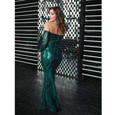 Зеленое платье с пайетками напрокат в аренду в Нижнем Новгороде