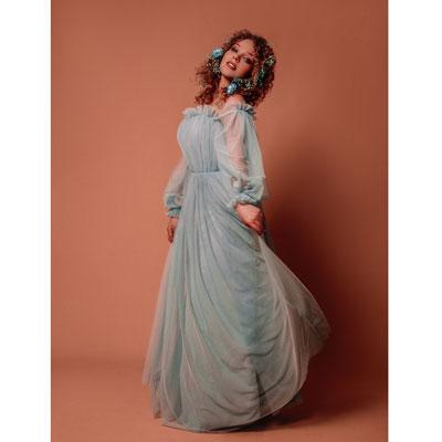 Небесно-голубое платье напрокат для фотосессии
