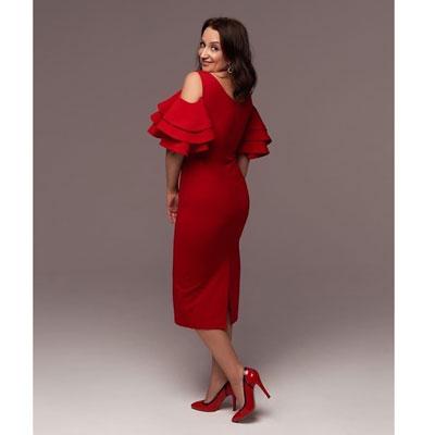 миди платье яркого красного цвета напрокат
