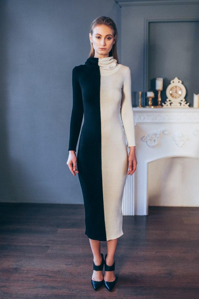 a5ff8225d86 Трикотажное черно белое вечернее платье - Модадром