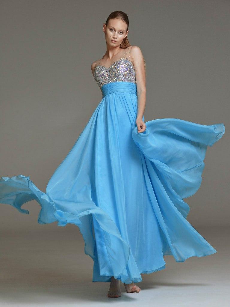 Голубые платья с стразами
