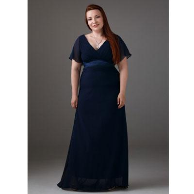 Длинное благородное синее платье большого размера напрокат