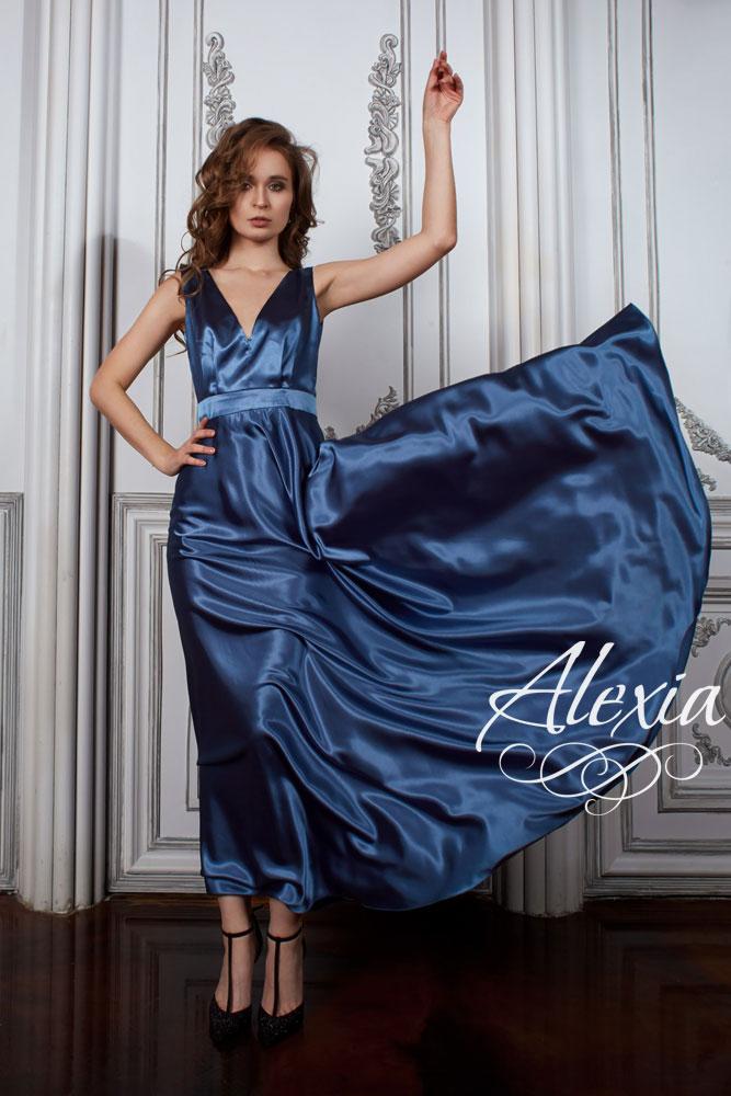 Синие атласное платье фото